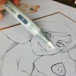 Couvrez la partie du dessin que vous voulez colorer avec le blender