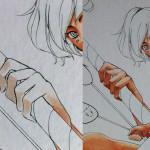 Le même procedé est utilisé pour la main du garçon